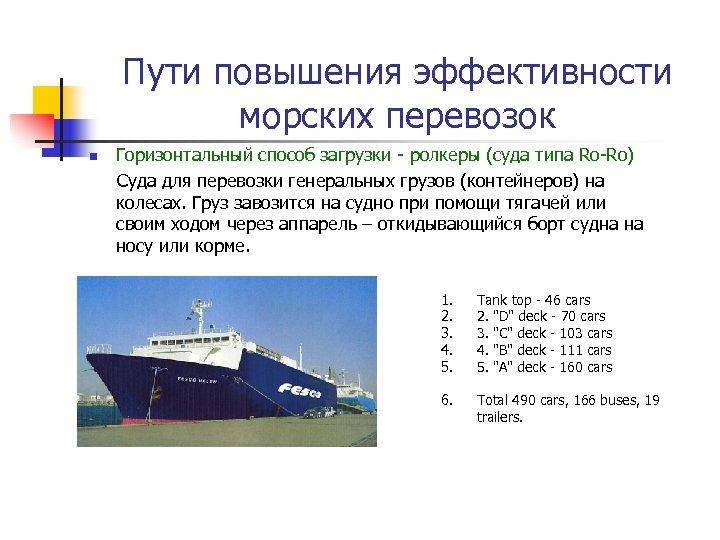 Пути повышения эффективности морских перевозок n Горизонтальный способ загрузки - ролкеры (суда типа Ro-Ro)