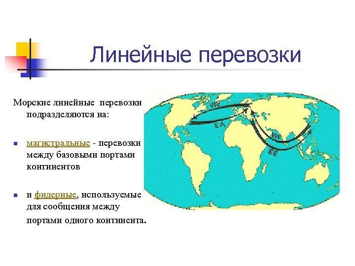 Линейные перевозки Морские линейные перевозки подразделяются на: n n магистральные - перевозки между базовыми