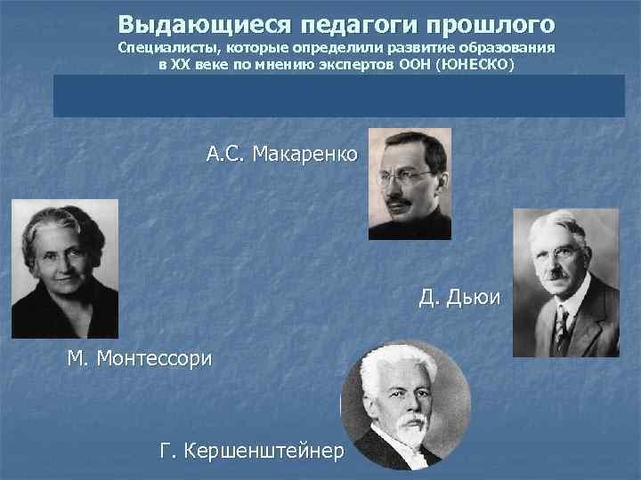 Выдающиеся педагоги прошлого Специалисты, которые определили развитие образования в ХХ веке по мнению экспертов