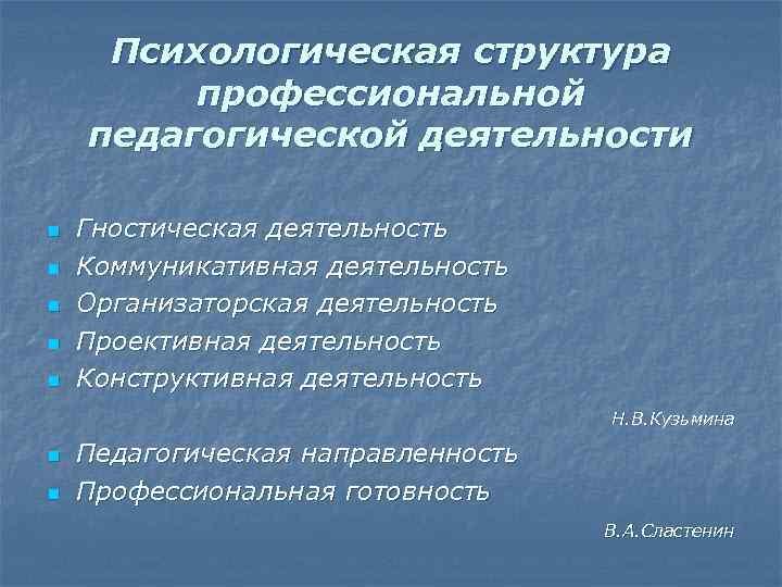 Психологическая структура профессиональной педагогической деятельности n n n Гностическая деятельность Коммуникативная деятельность Организаторская деятельность