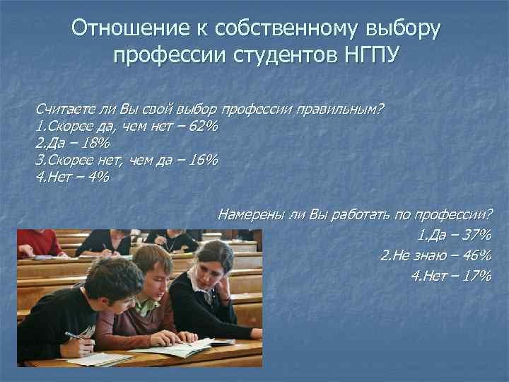 Отношение к собственному выбору профессии студентов НГПУ Считаете ли Вы свой выбор профессии правильным?