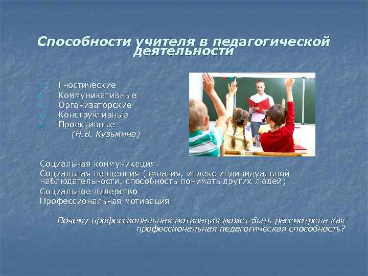 Способности учителя в педагогической деятельности 1. 2. 3. 4. 5. Гностические Коммуникативные Организаторские Конструктивные