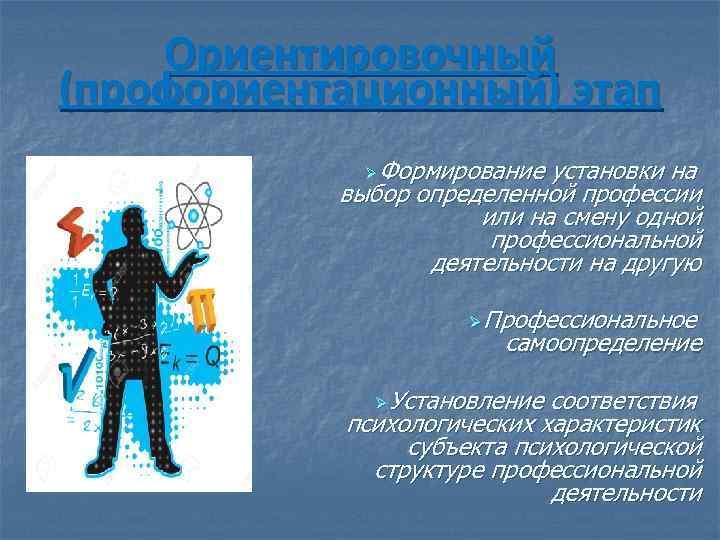 Ориентировочный (профориентационный) этап Ø Формирование установки на выбор определенной профессии или на смену одной