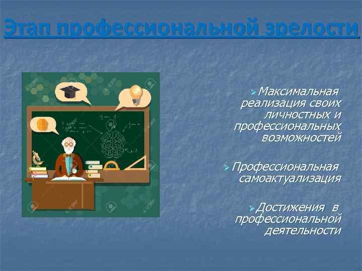 Этап профессиональной зрелости Ø Максимальная реализация своих личностных и профессиональных возможностей Ø Профессиональная самоактуализация