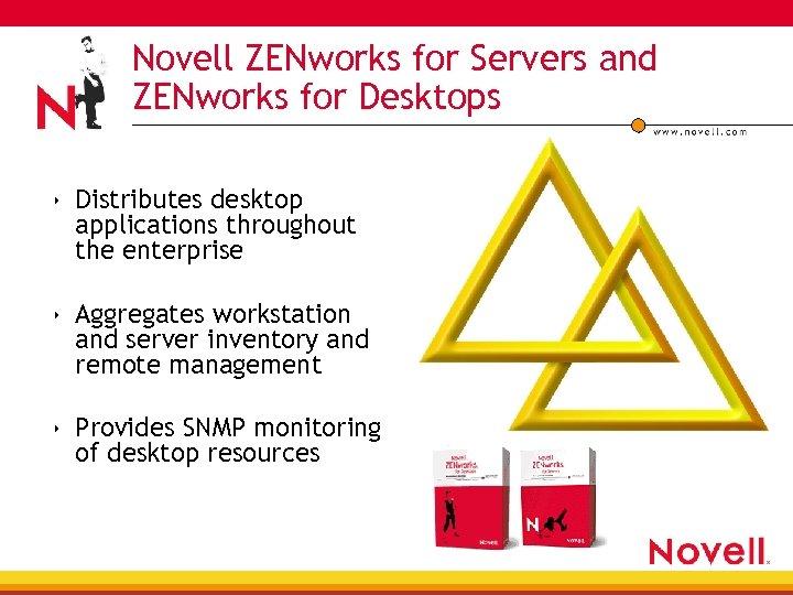 Novell ZENworks for Servers and ZENworks for Desktops 4 4 4 Distributes desktop applications