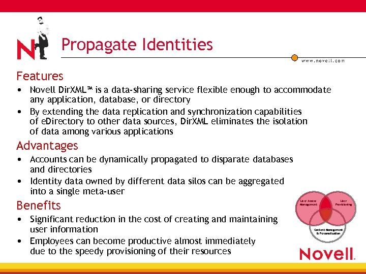 Propagate Identities Features • Novell Dir. XML™ is a data-sharing service flexible enough to