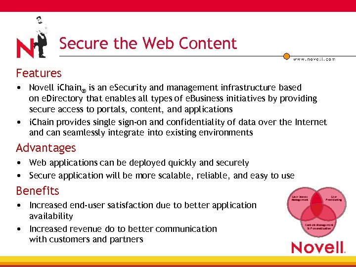 Secure the Web Content Features • Novell i. Chain® is an e. Security and