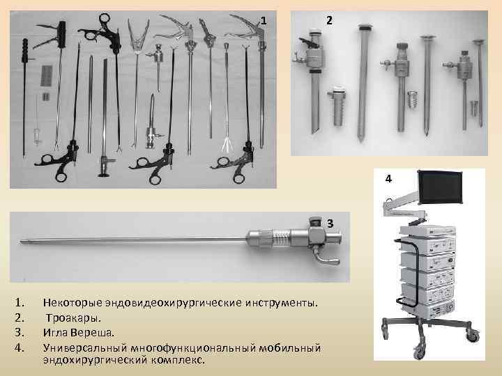 1 2 4 3 1. 2. 3. 4. Некоторые эндовидеохирургические инструменты. Троакары. Игла Вереша.