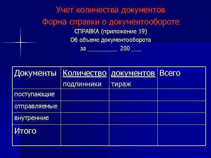 Учет количества документов Форма справки о документообороте СПРАВКА (приложение 19) Об объеме документооборота за