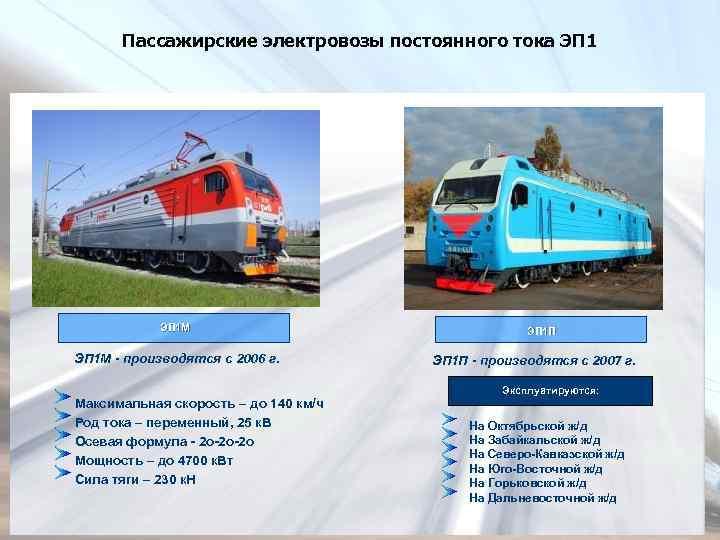 Пассажирские электровозы постоянного тока ЭП 1 М - производятся с 2006 г. Максимальная скорость