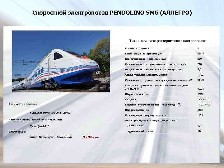 Скоростной электропоезд PENDOLINO SM 6 (АЛЛЕГРО) Технические характеристики электропоезда Количество вагонов 7 Длина поезда