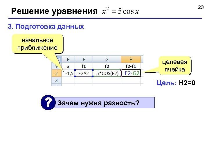 23 Решение уравнения 3. Подготовка данных начальное приближение целевая ячейка Цель: H 2=0 ?