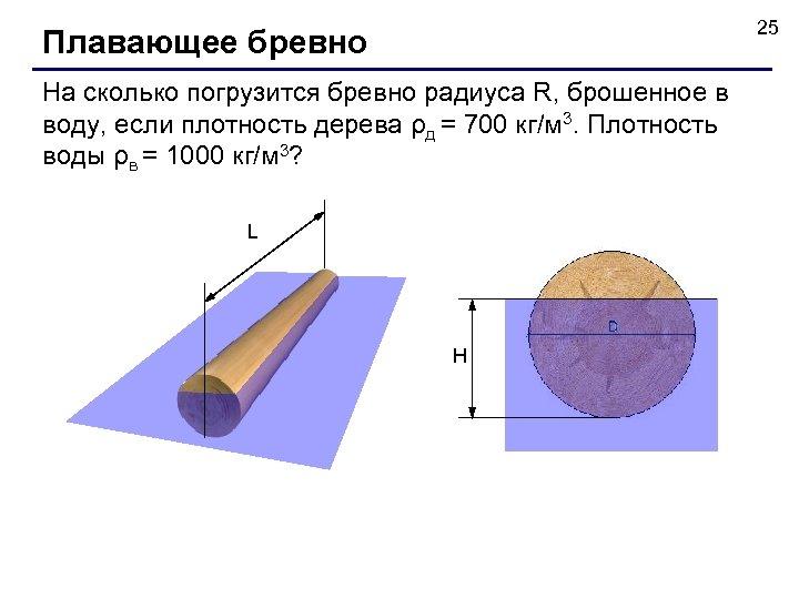 25 Плавающее бревно На сколько погрузится бревно радиуса R, брошенное в воду, если плотность