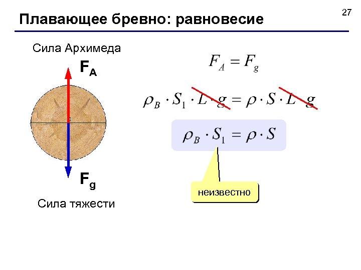 Плавающее бревно: равновесие Сила Архимеда FA Fg Сила тяжести неизвестно 27