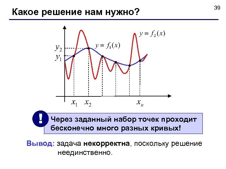 Какое решение нам нужно? ! Через заданный набор точек проходит бесконечно много разных кривых!