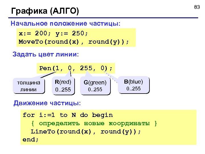 83 Графика (АЛГО) Начальное положение частицы: x: = 200; y: = 250; Move. To(round(x),