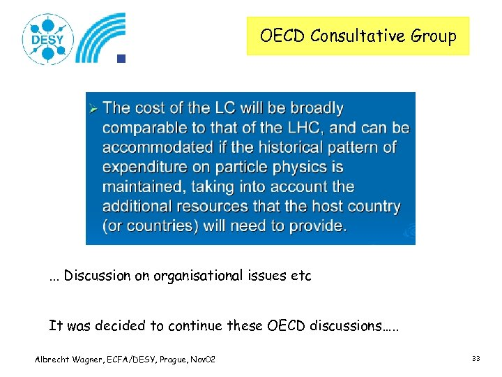 OECD Consultative Group . . . Discussion on organisational issues etc It was decided