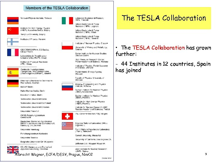 The TESLA Collaboration • The TESLA Collaboration has grown further: - 44 Institutes in