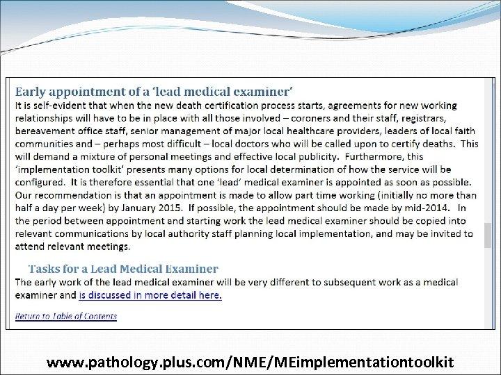 www. pathology. plus. com/NME/MEimplementationtoolkit