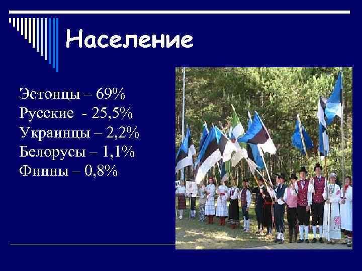 Население Эстонцы – 69% Русские - 25, 5% Украинцы – 2, 2% Белорусы –