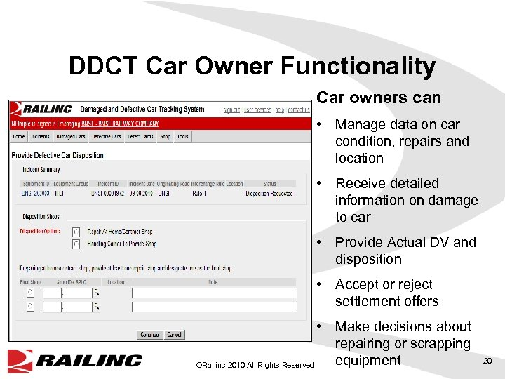 DDCT Car Owner Functionality Car owners can • Manage data on car condition, repairs