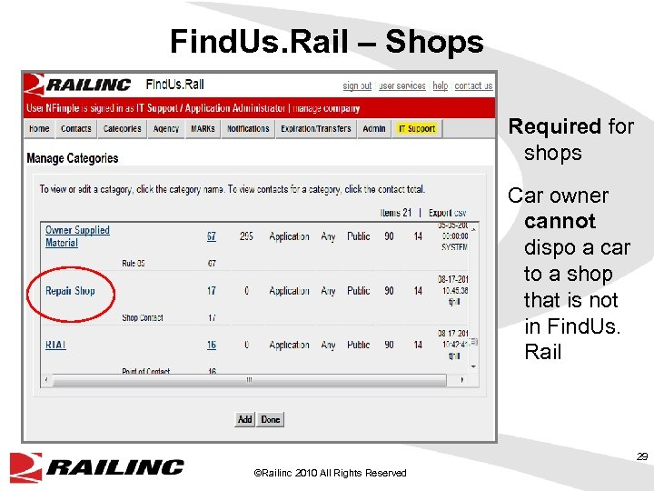 Find. Us. Rail – Shops Required for shops Car owner cannot dispo a car