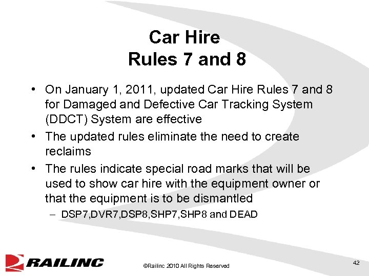 Car Hire Rules 7 and 8 • On January 1, 2011, updated Car Hire