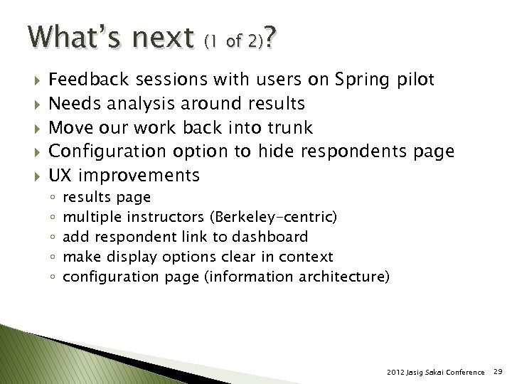 What's next (1 of 2)? } } } Feedback sessions with users on Spring