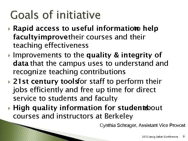 Goals of initiative } } Rapid access to useful information help to faculty improve