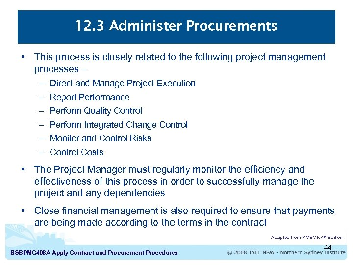 Apply Contract and Procurement Procedures Introduction to