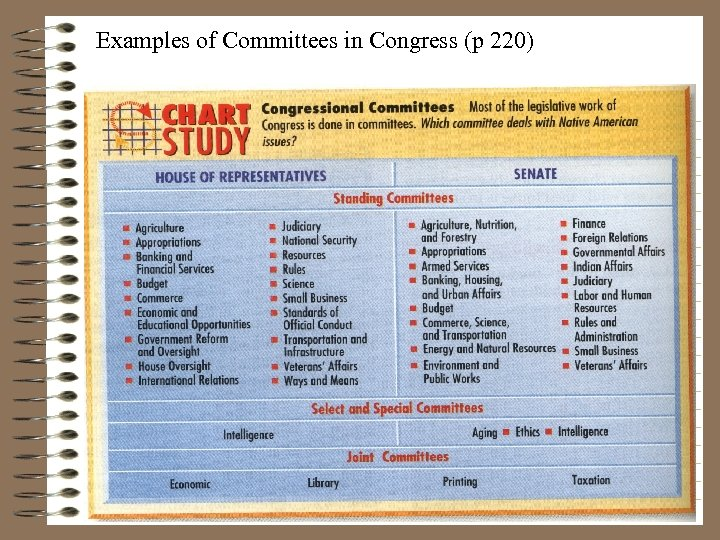 Examples of Committees in Congress (p 220)