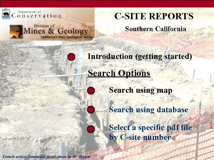 C-SITE REPORTS Southern California Introduction (getting started) Search Options Search using map Search using