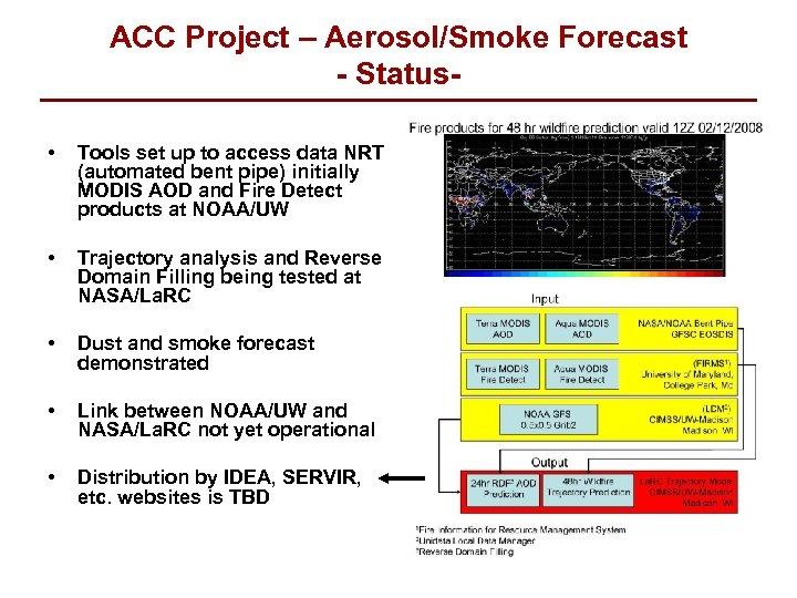ACC Project – Aerosol/Smoke Forecast - Status • Tools set up to access data