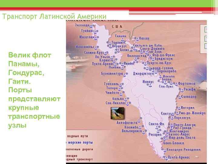 Транспорт Латинской Америки Велик флот Панамы, Гондурас, Гаити. Порты представляют крупные транспортные узлы
