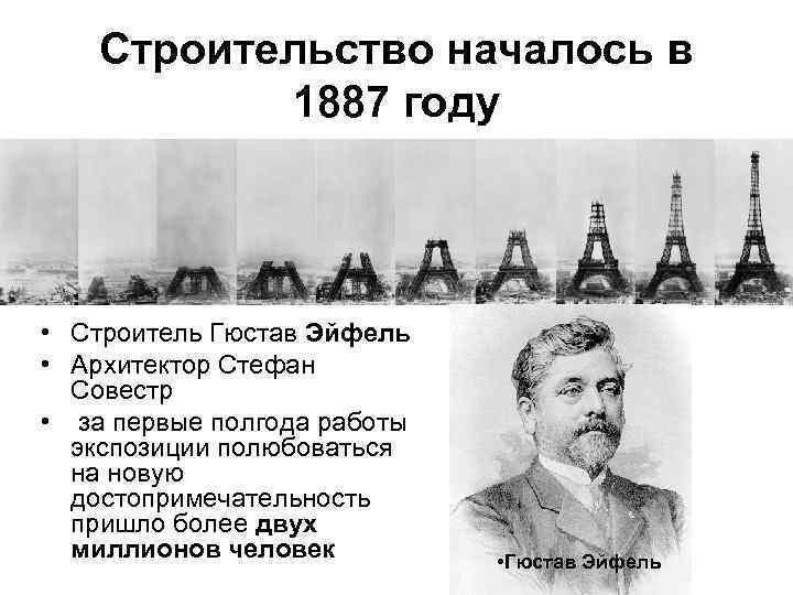 Строительство началось в 1887 году • Строитель Гюстав Эйфель • Архитектор Стефан Совестр •