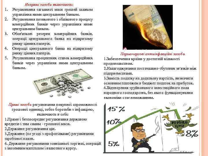 1. 2. 3. 4. 5. Непрямі засоби включають: Регулювання загальної маси грошей шляхом управління