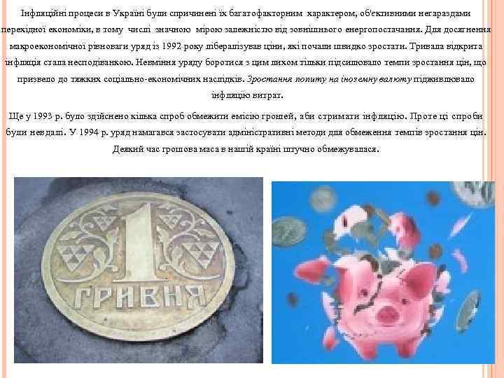 Інфляційні процеси в Україні були спричинені їх багатофакторним характером, об'єктивними негараздами перехідної економіки, в