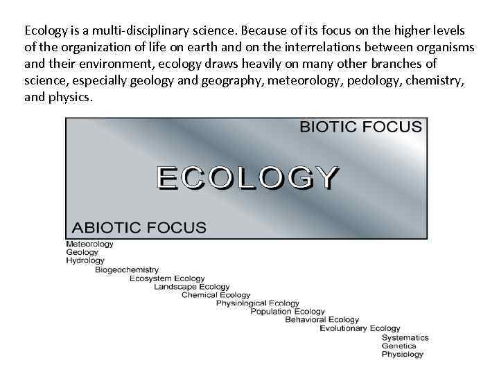 Ecology is a multi-disciplinary science. Because of its focus on the higher levels of