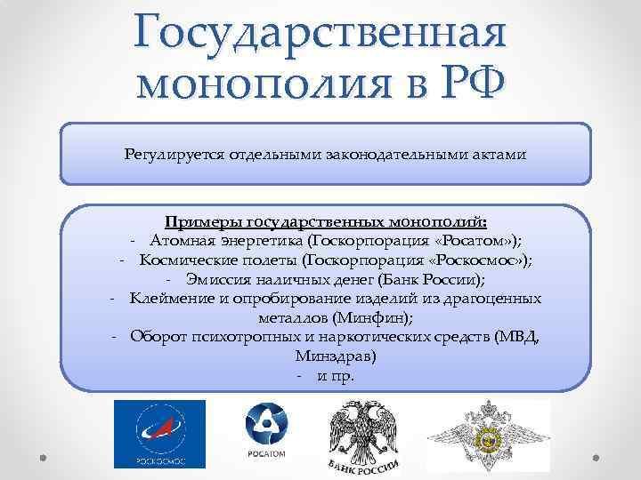 Государственная монополия в РФ Регулируется отдельными законодательными актами Примеры государственных монополий: - Атомная энергетика
