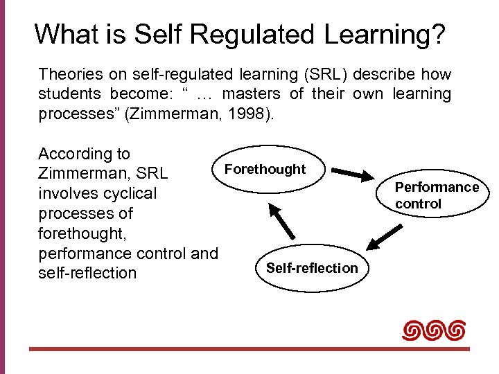 What is Self Regulated Learning? Theories on self-regulated learning (SRL) describe how students become: