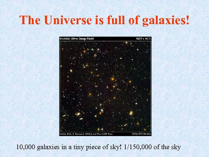 The Universe is full of galaxies! 10, 000 galaxies in a tiny piece of