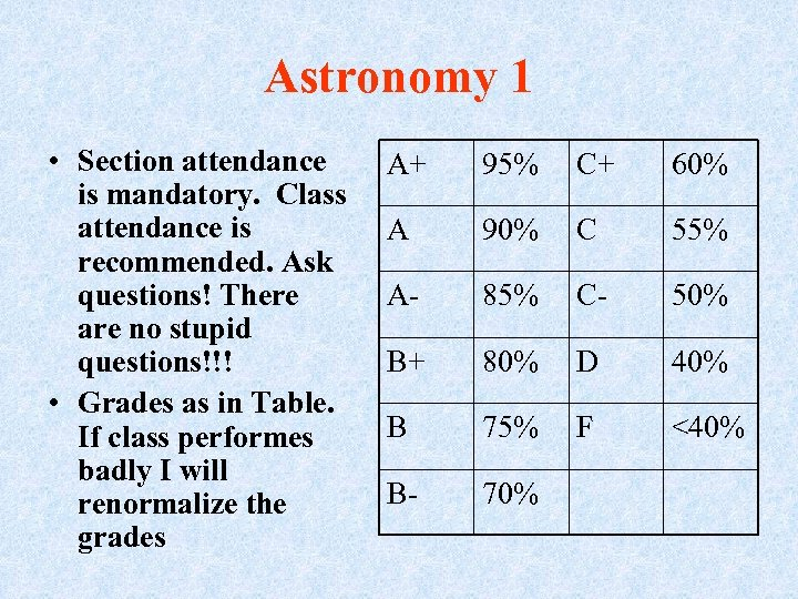 Astronomy 1 • Section attendance is mandatory. Class attendance is recommended. Ask questions! There
