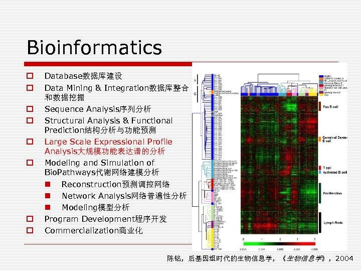 Bioinformatics o o o o Database数据库建设 Data Mining & Integration数据库整合 和数据挖掘 Sequence Analysis序列分析 Structural