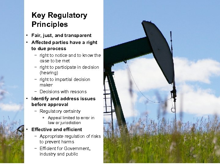 Key Regulatory Principles • Fair, just, and transparent • Affected parties have a right