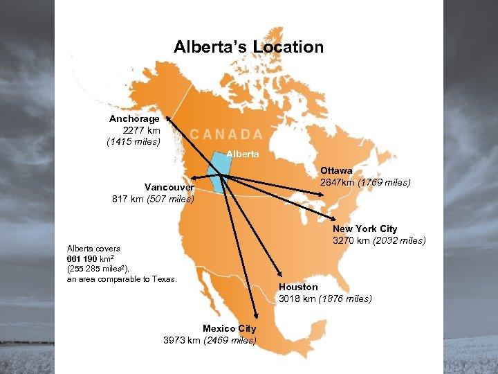 Alberta's Location Anchorage 2277 km (1415 miles) Alberta Vancouver 817 km (507 miles) Alberta