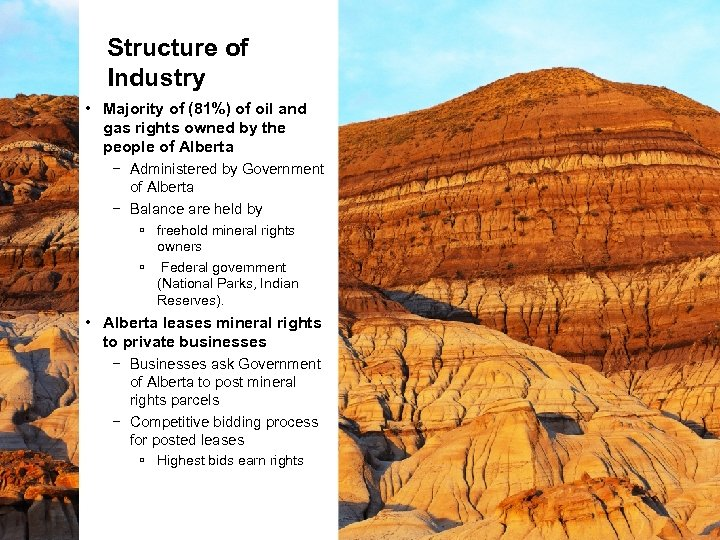 Structure of Industry • Majority of (81%) of oil and gas rights owned by
