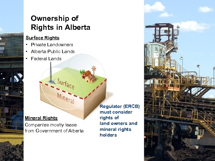 Ownership of Rights in Alberta Surface Rights • Private Landowners • Alberta Public Lands