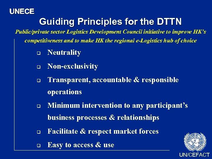 UNECE Guiding Principles for the DTTN Public/private sector Logistics Development Council initiative to improve