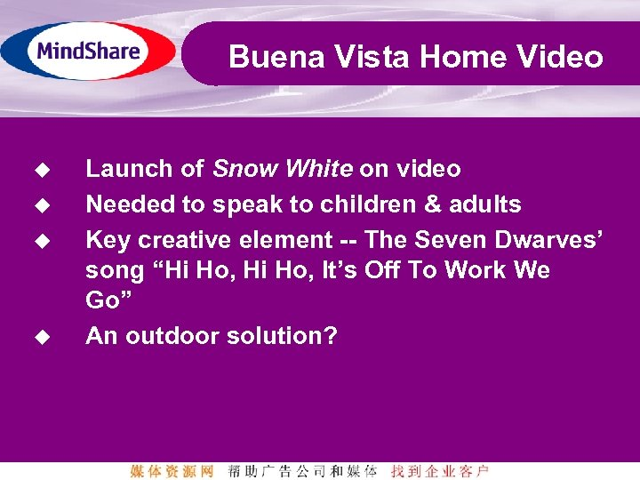 Buena Vista Home Video u u Launch of Snow White on video Needed to
