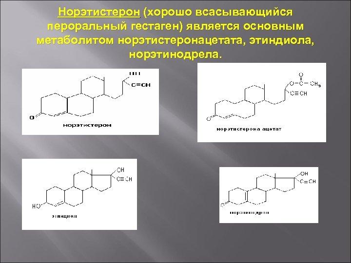 Норэтистерон (хорошо всасывающийся пероральный гестаген) является основным метаболитом норэтистеронацетата, этиндиола, норэтинодрела.